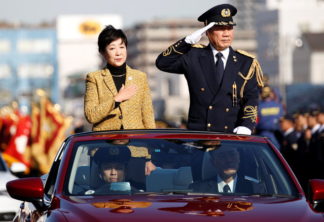 Tokyo Governor Yuriko Koike (L) attends a New Year demonstration by the fire brigade in Tokyo, Japan, January 6, 2017. (Photo by Toru Hanai/Reuters)