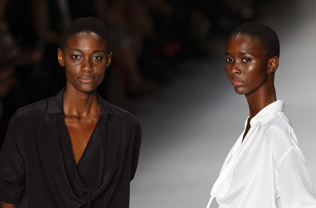 Models wear creations from Uma Raquel Davidowicz Summer collection during the Sao Paulo Fashion Week in Sao Paulo, Brazil, Monday, April 13, 2015. (Photo by Andre Penner/AP Photo)
