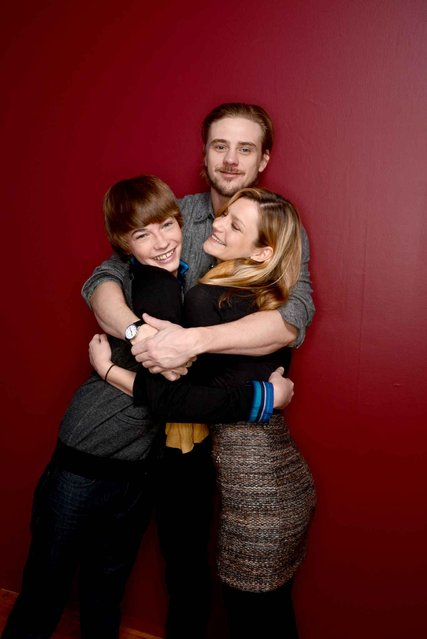 (L-R) Actors Jacob Lofland and Boyd Holbrook, and filmmaker Sara Colangelo pose for a portrait during the 2014 Sundance Film Festival at the WireImage Portrait Studio at the Village At The Lift on January 21, 2014 in Park City, Utah. (Photo by Larry Busacca/AFP Photo)