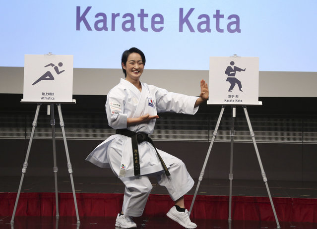 Karate athlete Kiyo Shimizu performs during a celebration to mark 500 days to go, in Tokyo, Tuesday, March 12, 2019. Organizers marked the milestone on Tuesday, unveiling the stylized pictogram figures for next year's Tokyo Olympics. (Photo by Koji Sasahara/AP Photo)