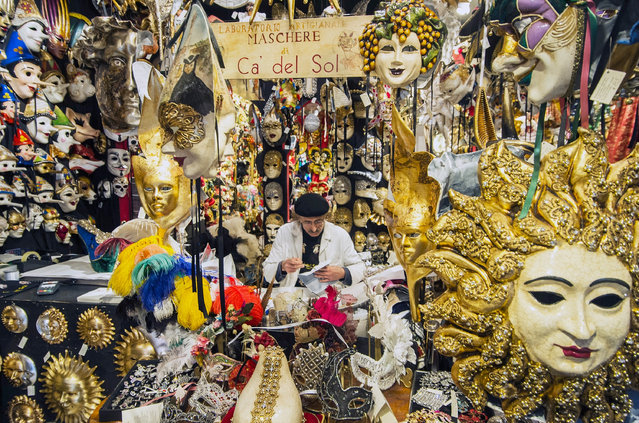 Hamid, a traditional artisan who specilises in costumes and masks, works at Ca' Del Sol on February 7, 2017 in Venice, Italy. Artisans, masks and costume makers are getting ready ahead of the 2017 Venice Carnival that will last from 11 – 28 February 2017. (Photo by Awakening/Getty Images)