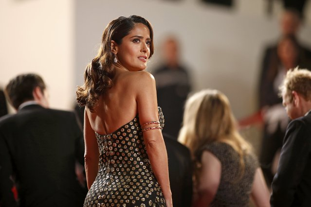 "Cast member Salma Hayek poses on the red carpet as she arrives for the screening of the film ""Tale of Tales"" in competition at the 68th Cannes Film Festival in Cannes, southern France, May 14, 2015. (Photo by Benoit Tessier/Reuters)"