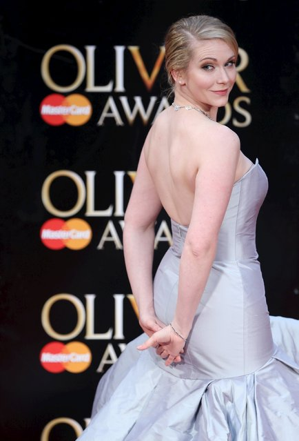 British actress Emma Williams poses for photographers as she arrives at the Olivier Awards at the Royal Opera House in London, Britain April 3, 2016. (Photo by Neil Hall/Reuters)