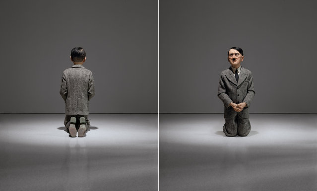 """This combination of undated photos provided by Christie's shows """"Him"""", a controversial sculpture of Adolf Hitler by Maurizio Cattelan. Viewed from the rear, it appears as a child-like figure kneeling in prayer. But from the front, viewers come face-to-face with a likeness of the Nazi leader. The work is among the highlights of a special sale at Christie's auction house in New York scheduled for May 8, 2016. (Photo by Maurizio Cattelan/Christie's/Marian Goodman Gallery via AP Photo)"""