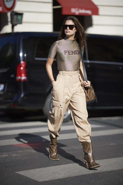 Sara Sampaio seen wearing a bag top and boots from Fendi during Paris Fashion Week Spring/Summer 2019 on September 26, 2018 in Paris, France. (Photo by Timur Emek/Getty Images)