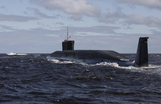 In this file photo taken on Thursday, July 2, 2009,  the Russian nuclear submarine, Yuri Dolgoruky, is seen during sea trials near Arkhangelsk, Russia.  The Russian navy said in a statement Friday March 31, 2017,  that its submarines have increased combat patrols to the level last seen during the Cold War. (Photo by Alexander Zemlianichenko/AP Photo)