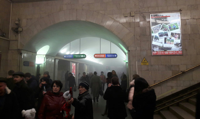 The photo taken on April 3, 2017 shows the blast site at a metro station in St. Petersburg, Russia. At least 10 people were killed, 50 injured and 7 stations were shut down after blasts. (Photo by Xinhua News Agency/Rex Features/Shutterstock)
