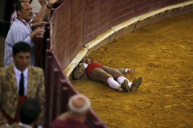 A member of the Ribatejo forcados group lies after he was tossed by a bull during a bullfight at Campo Pequeno bullring in Lisbon, Portugal July 9, 2015. Forcados are traditional Portuguese bullfighters who catch bulls with their bare hands. (Photo by Rafael Marchante/Reuters)