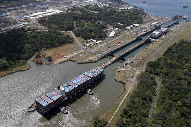 An aerial view of the Gatun locks on the Atlantic side of the Panama Canal is seen during an organised media tour March 23, 2015. (Photo by Carlos Jasso/Reuters)