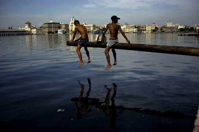 Youth cover a pole with oil as they prepare it for a competition over Havana Bay during a small fair in the Casablanca neighborhood of Havana, Cuba, Thursday, July 16, 2015. Casablanca residents have brought back lost traditions to their 420-year-old neighborhood, including this game in which contestants try to walk to the end of a wooden pole without slipping off into the water. A money prize is placed at the end of the pole for the winner. (Photo by Ramon Espinosa/AP Photo)