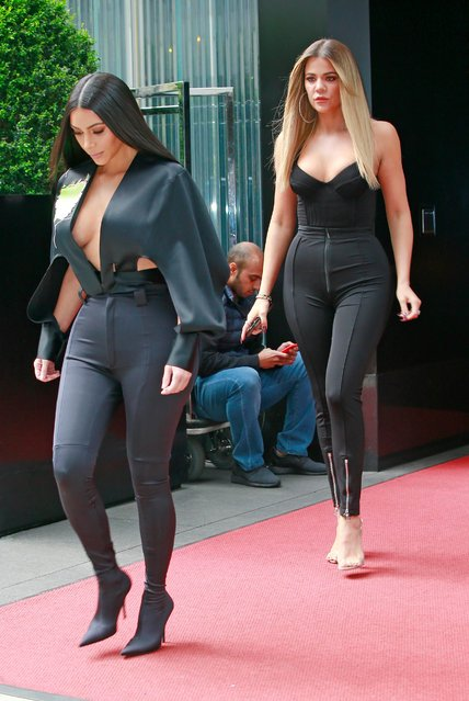 Kim Kardashian and Khloe Kardashian at NBC Upfronts on May 15, 2017 in New York City. (Photo by Splash News and Pictures)