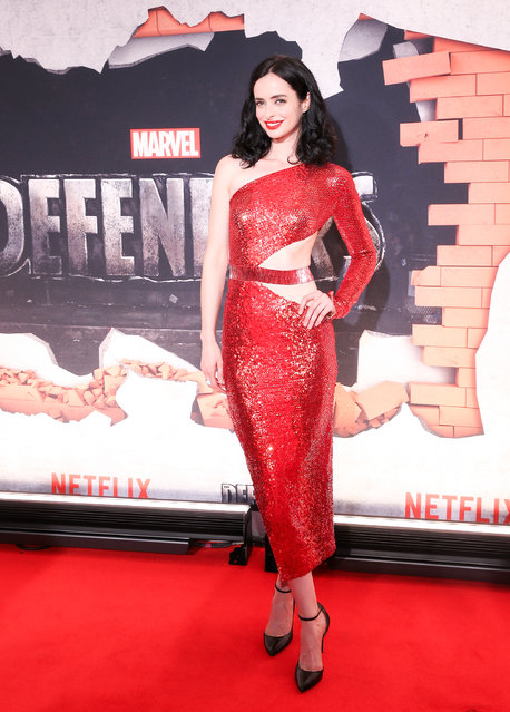 """Actress Krysten Ritter attends the """"Marvel's The Defenders"""" New York premiere at Tribeca Performing Arts Center on July 31, 2017 in New York City. (Photo by Bennett Raglin/WireImage)"""