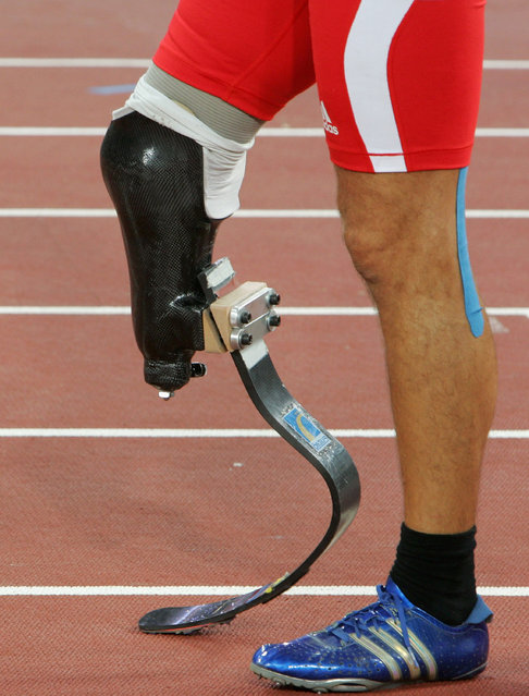 A general view is seen of the prosthetic leg belonging to Urs Kolly of Switzerland as he prepares to race in the 400m of the men's pentathlon P44 Athletics event at the National Stadium during day five of the 2008 Paralympic Games on September 11, 2008 in Beijing, China. (Photo by Mark Kolbe/Getty Images)