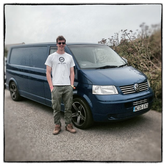 Professional surfer Zak Lawton from Croyde in Devon poses for a photograph besides his 2006 fifth generation T5, Volkswagen Transporter in Newquay on August 8, 2014 in Cornwall, England. The van, which he bought for £8000 and converted himself is nicknamed Foxy. (Photo by Matt Cardy/Getty Images)