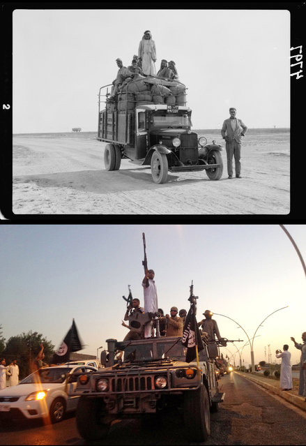This combination of two photographs shows a 1932 image of men on a lorry on the road to Mosul, northern Iraq, from the Library of Congress, top, and fighters from the Islamic State group parading in a commandeered Iraqi security forces armored vehicle down a main road in Mosul on Monday, June 23, 2014. (Photo by AP Photo)