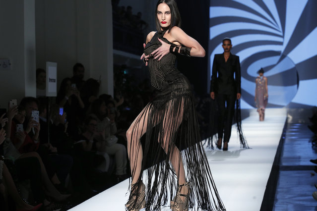 Model Lea Vlamos wears a creation for the Jean Paul Gaultier Haute Couture Spring-Summer 2018 fashion collection presented in Paris, Wednesday, January 24, 2018. (Photo by Francois Mori/AP Photo)