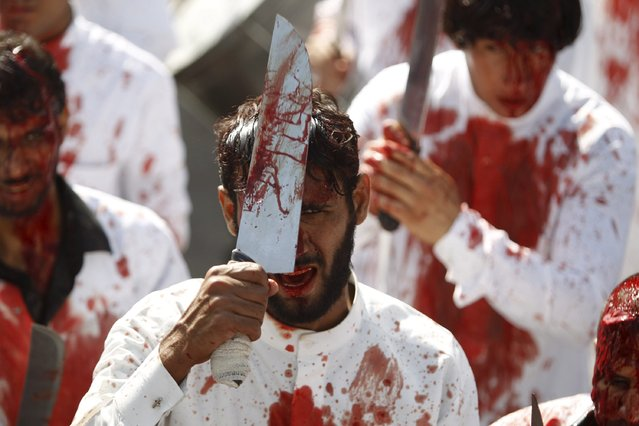 Iraq Shi'ite Muslim men bleed as they gash their foreheads with swords and beat themselves as they commemorate Ashura in Baghdad, October 24, 2015. (Photo by Ahmed Saad/Reuters)
