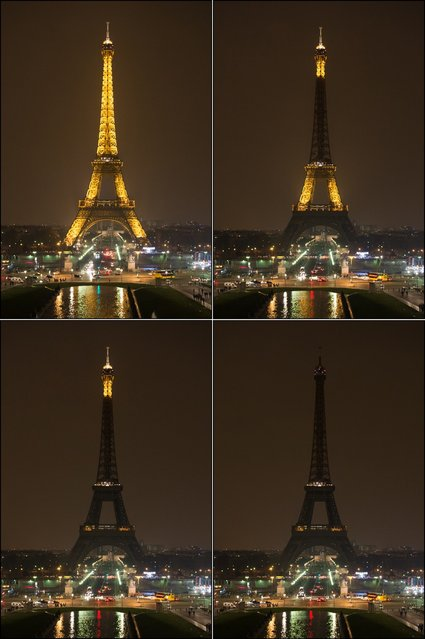 Combination photo shows The Eiffel Tower submerging into darkness at 8:30 pm (local time) as part of the Earth Hour switch-off on March 23, 2013 in Paris. Organisers expect hundreds of millions of people across more than 150 countries to turn off their lights for 60 minutes on Saturday night – at 8:30 pm local time – in a symbolic show of support for the planet. While more than 150 countries joined in last year's event, the movement has spread even further afield this year, with Palestine, Tunisia, Suriname and Rwanda among a host of newcomers pledging to take part. (Photo by Bertrand Langlois/AFP Photo)