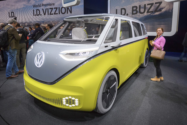 The Volkswagen I.D. Buzz is presented during the press day at the 88th Geneva International Motor Show in Geneva, Switzerland, Tuesday, March 6, 2018. (Photo by Martial Trezzini/Keystone via AP Photo)