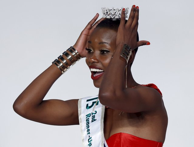 Eunice Onyango representing Kenya reacts after she is crowned second runner-up of Miss International 2015 during the 55th Miss International Beauty Pageant in Tokyo, Japan, November 5, 2015. (Photo by Toru Hanai/Reuters)