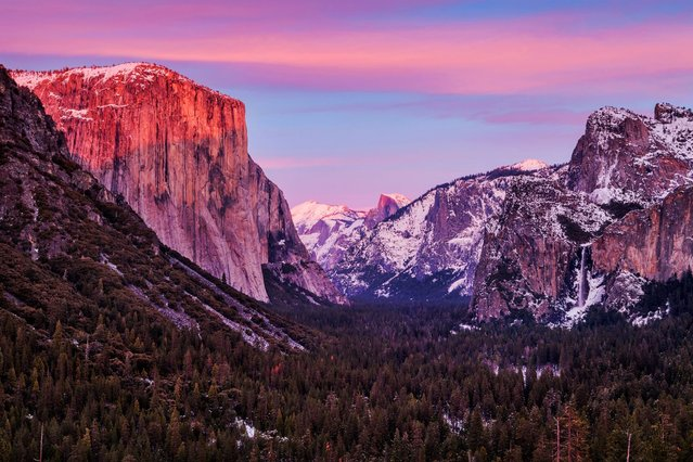 With its granite cliffs, domes, and spires, Yosemite is famous for becoming lightning rods during storms. (Photo by Nolan Nitschke/Caters News)