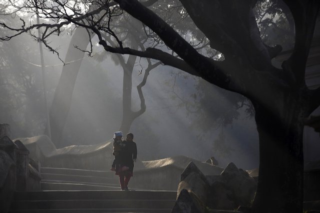 A woman carrying her child walks along the premises of Pashupatinath temple during the Swasthani Brata Katha festival in Kathmandu January 20, 2015. (Photo by Navesh Chitrakar/Reuters)