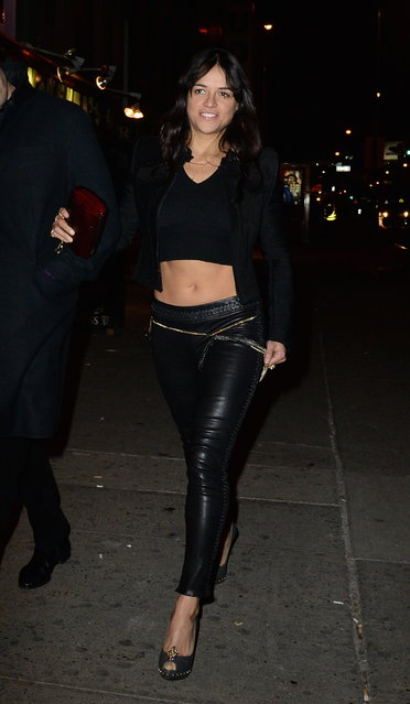 Actress Michelle Rodriguez is seen outside Club Up and Down in the Soho on February 13, 2015 in New York City. (Photo by Raymond Hall/GC Images)