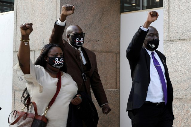 Keeta and Philonise Floyd leave court with their attorney Ben Crump after the sixth day in the trial of former police officer Derek Chauvin, who is facing murder charges in the death of George Floyd, in Minneapolis, Minnesota, U.S., April 5, 2021. (Photo by Nicholas Pfosi/Reuters)