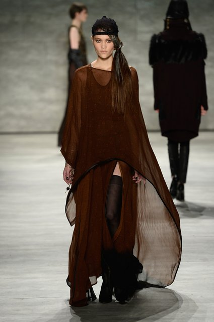 A model walks the runway at the Nicholas K fashion show during Mercedes-Benz Fashion Week Fall 2015 at The Pavilion at Lincoln Center on February 12, 2015 in New York City. (Photo by Fernanda Calfat/Getty Images for Mercedes-Benz Fashion Week)