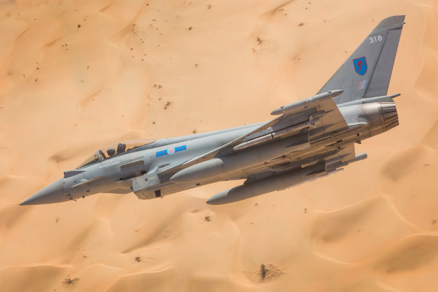 """Almost touching"". Equipment, second prize: In September 2017 Typhoons from 6 Squadron at RAF Lossiemouth deployed to Thumrait Air Base in Oman as part of Exercise Magic Carpet. (Photo bu SAC Laura Bullas/RAF)"