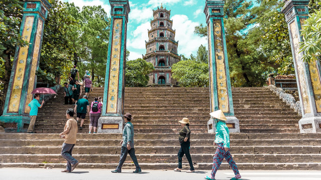 """""""John, Paul, George and Ringo … This was taken at the bottom of the Thien Mu Pagoda in Huế, Vietnam. As beautiful as the ancient sites are, I was bored with shots of temples and ruins. Luckily, this fab four wandered past to bring a smile to my face"""". (Photo by Victoria Thake/The Guardian)"""