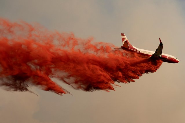 An airplane drops fire retardant on the Chuweah Creek Fire as wildfires devastate Nespelem in eastern Washington state, U.S., July 14, 2021. (Photo by David Ryder/Reuters)