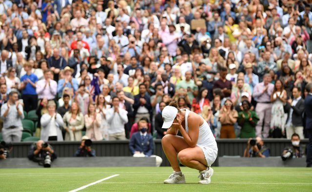 Ashleigh Barty of Australia celebrates winning during her Ladies' Singles Final match against Karolina Pliskova of The Czech Republic on Day Twelve of The Championships – Wimbledon 2021 at All England Lawn Tennis and Croquet Club on July 10, 2021 in London, England. (Photo by Toby Melville/Reuters)