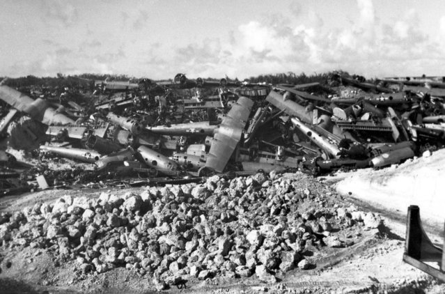 Scrapped Boeing B-29s are piled up on Tinian in 1946. (Photo by U.S. Air Force)