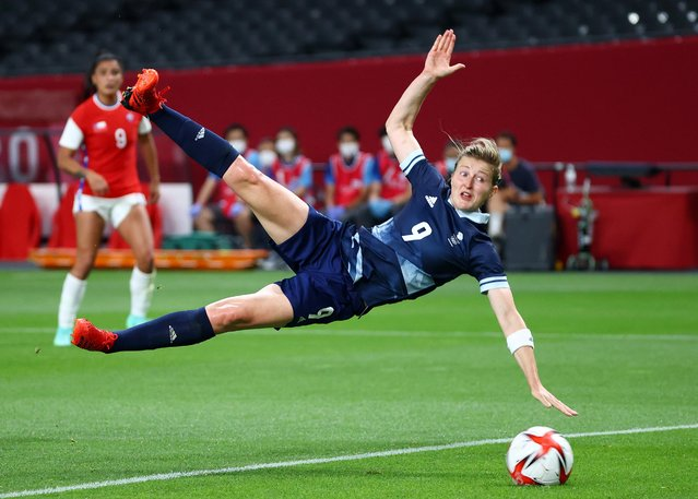 Ellen White #9 of Team Great Britain scores their side's second goal during the Women's First Round Group E match between Great Britain and Chile during the Tokyo 2020 Olympic Games at Sapporo Dome on July 21, 2021 in Sapporo, Hokkaido, Japan. (Photo by Kim Hong-Ji/Reuters)