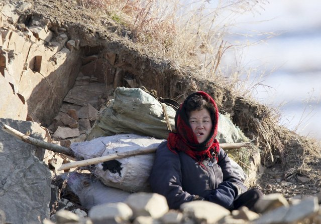 A North Korean woman rests on on the banks of Yalu River, in Sakchu county, North Korea, January 7, 2016. (Photo by Jacky Chen/Reuters)