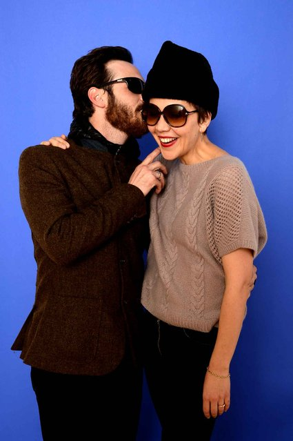 Actors Scoot McNairy and Maggie Gyllenhaal pose for a portrait during the 2014 Sundance Film Festival at the WireImage Portrait Studio at the Village At The Lift on January 18, 2014 in Park City, Utah. (Photo by Larry Busacca/AFP Photo)