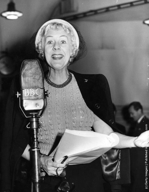 1950: Stage, screen and radio comedienne Cicely Courtneidge rehearses for her latest radio appearance