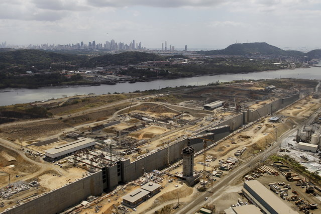 An aerial view of the construction site of the Panama Canal Expansion project is seen during an organised media tour, in Panama City March 23, 2015. (Photo by Carlos Jasso/Reuters)