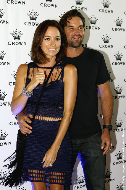 Patrick Rafter and Lara Feltham arrive at the 2012 Australian open Players Party at Crown Towers