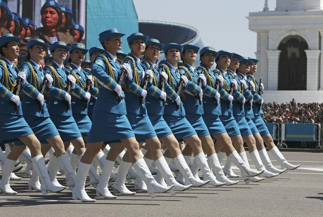 Kazakh troops march during a parade of the armed forces to mark the Defender of the Fatherland Day in Astana, May 7, 2014. (Photo by Mukhtar Kholdorbekov/Reuters)