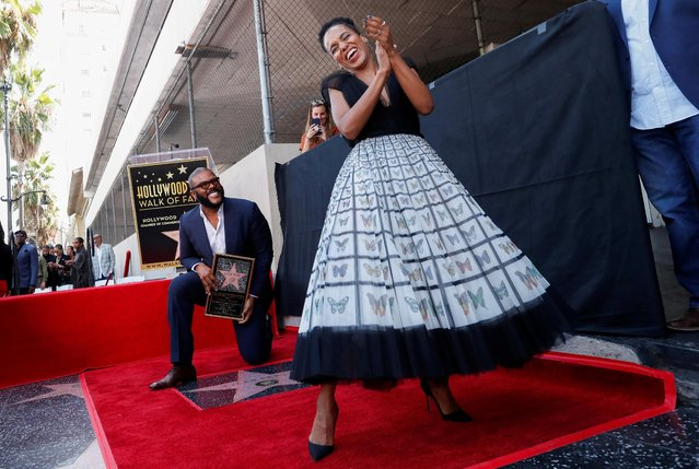 Actor Kerry Washington dances on movie mogul Tyler Perry's star during its unveiling on the Hollywood Walk of Fame in Los Angeles, California, U.S., October 1, 2019. (Photo by Mario Anzuoni/Reuters)