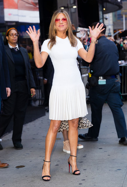 Jennifer Aniston at GMA on October 28, 2019 in New York City. (Photo by Gotham/GC Images)