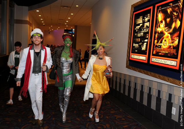 Fans arrive at the Opening Night Of Lionsgate's 'The Hunger Games' at the Regal Cinemas L.A. LIVE Stadium