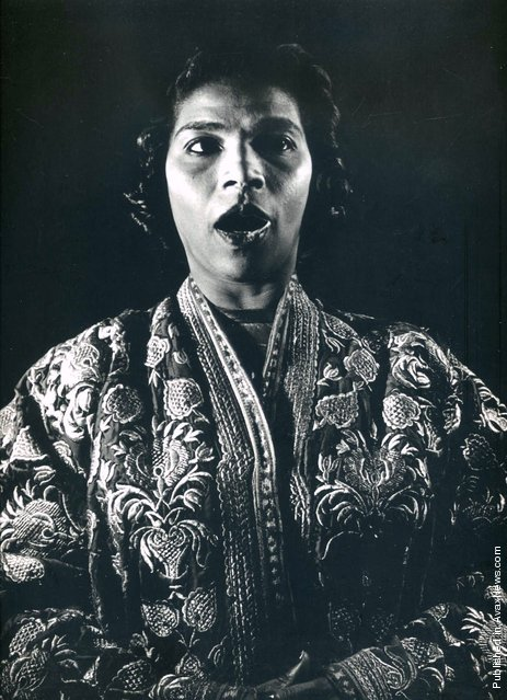 American singer of classical music, Marian Anderson sings spirituals. USA, 1945. (Photo by Philippe Halsman)