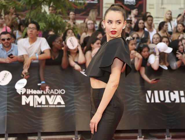 Singer Sofia Carson arrives for the iHeartRadio Much Music Video Awards (MMVAs) in Toronto, Ontario, Canada June 19, 2016. (Photo by Peter Power/Reuters)