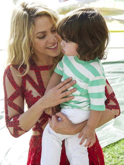 Shakira with her son during the final of the FIFA World Cup 2014 on July 13, 2014 at the Maracana stadium in Rio de Janeiro, Brazil. (Photo by VI Images via Getty Images)