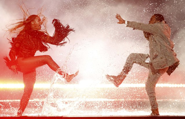 "Kendrick Lamar performs ""Freedom"" with Beyonce (L) at the 2016 BET Awards in Los Angeles, California, U.S., June 26, 2016. (Photo by Danny Moloshok/Reuters)"