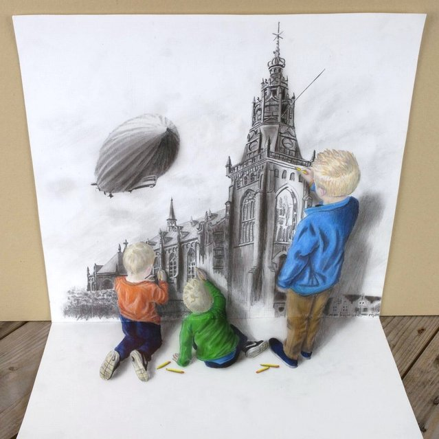 Ramon Bruin's 3D illustration of three children who appear 3D drawing a cathedral. (Photo by Ramon Bruin/Medavia)