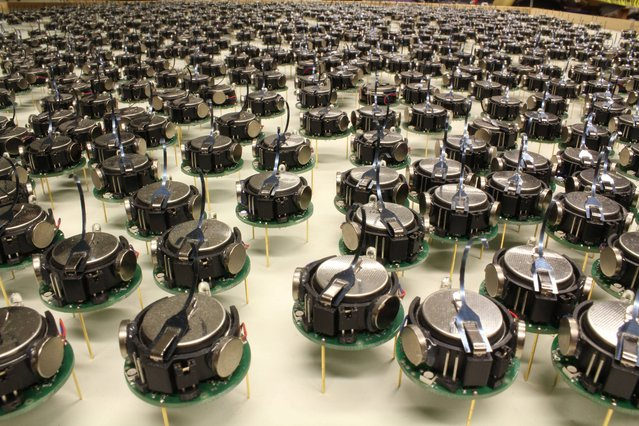 """Undated handout photo issued by Harvard University of a close up of a Kilobot swarm, obedient miniature robots that act together as a """"swarm"""" to form a 1,000-strong army, scientists in the US created the soldier-like devices, each measuring a few centimetres across, to demonstrate how simple machines can display complex self-organising behaviour. (Photo by Michael Rubenstein/PA Wire/Harvard University)"""